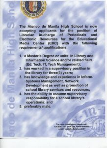 Librarian Wanted at Ateneo de Manila High School
